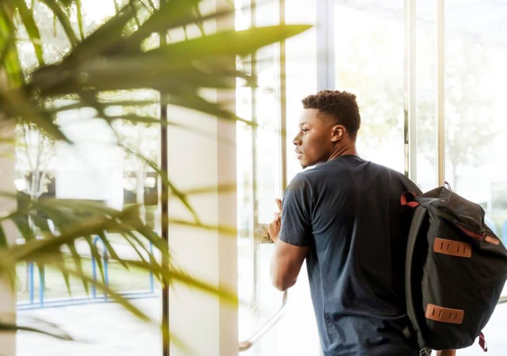Student Leaving for Shuttle